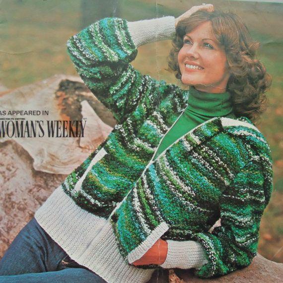 Vintage 70s Ladies Zip Jacket Knitting Pattern in Poodle & DK Yarn ...