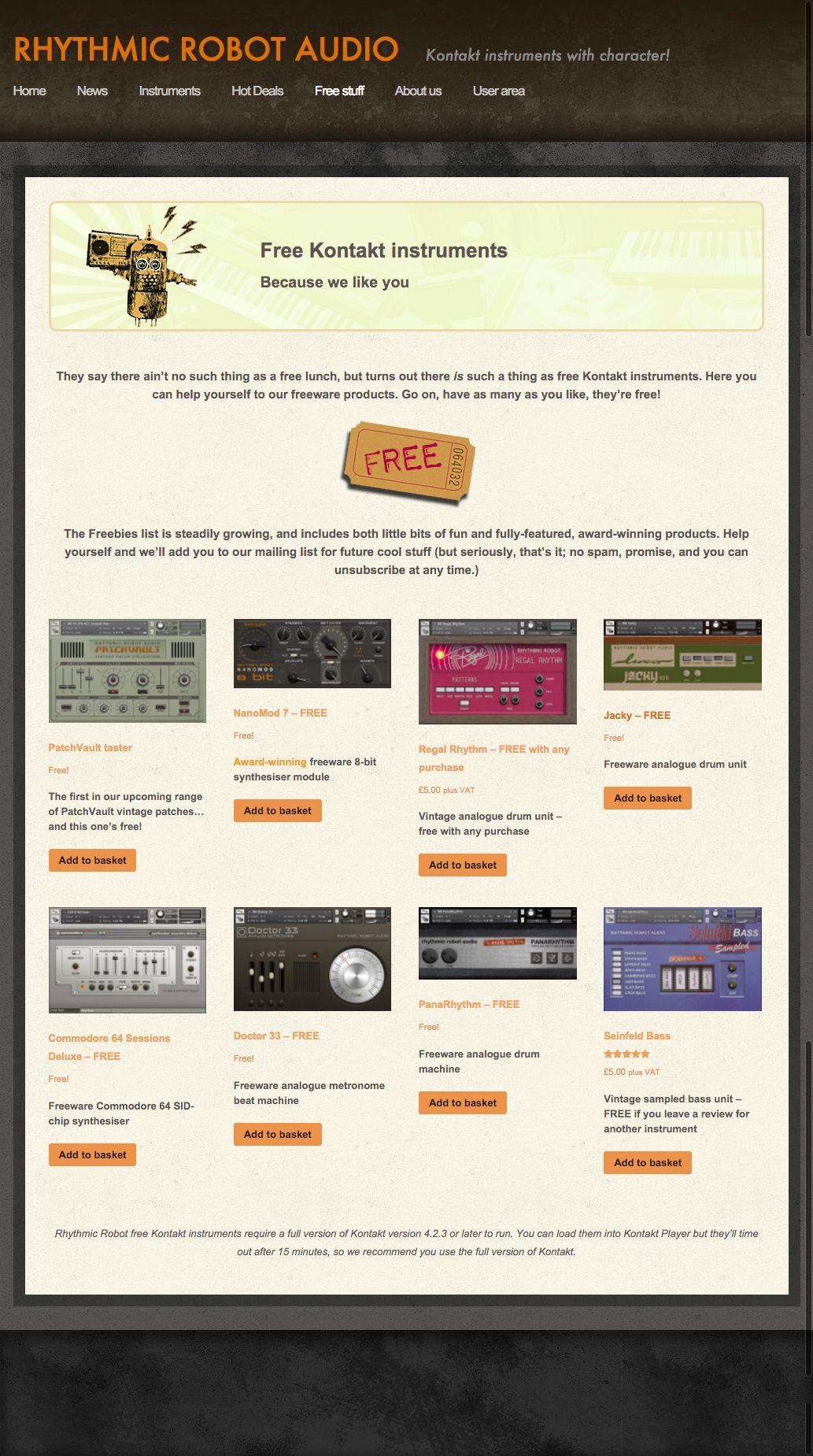 free kontakt instruments from rhythmic robot audio gear music technology instruments drum. Black Bedroom Furniture Sets. Home Design Ideas
