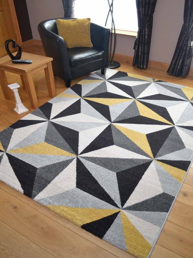 Small Extra Large Modern Ochre Yellow Gold Triangle Floor Carpet Mat Rugs In Home Furniture Diy Carpets Ebay