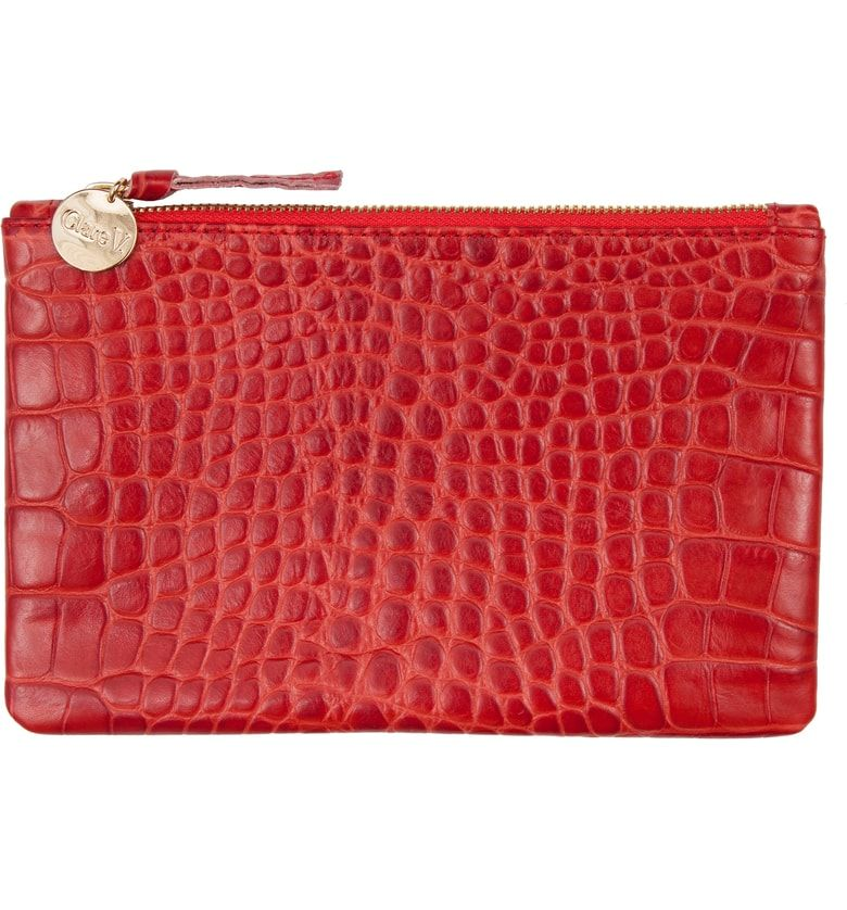 Clare V Croc Embossed Leather Wallet Clutch Leather Wallet Clutch Wallet Wallet