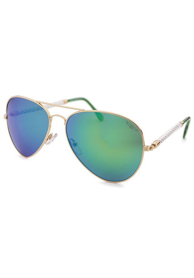 38cb9b0b0 Invicta Style #: INVICTASUN-IEW023-28 Aviator Gold-Tone Sunglasses Green  Mirrored Lenses