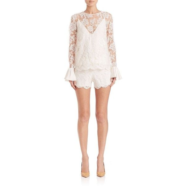 Alexis Ine Embroidered Lace Ruffle-Cuff Blouse ($425) ❤ liked on Polyvore featuring tops, blouses, apparel & accessories, white, long sleeve lace top, white blouse, sweater pullover, white long sleeve top and lace top