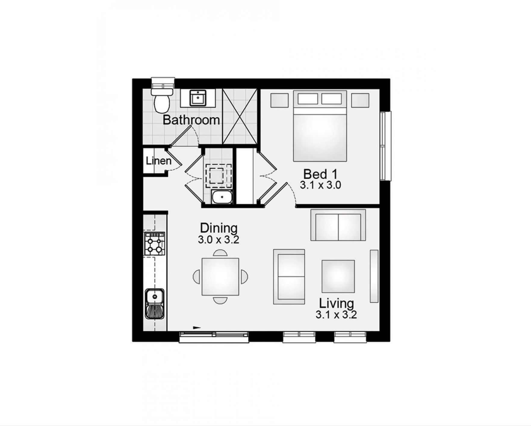 Granny flat 45m2 1 bedroom clarendon homes floor plans granny flats pinterest granny for 1 bedroom granny flat floor plans