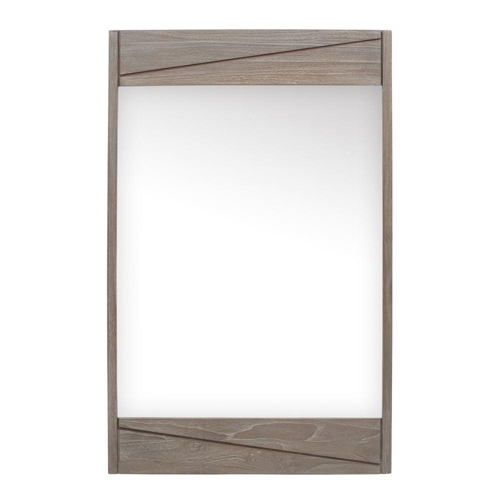 Avanity Teak 24 In W X 38 In H Single Framed Wall Mirror In Gray