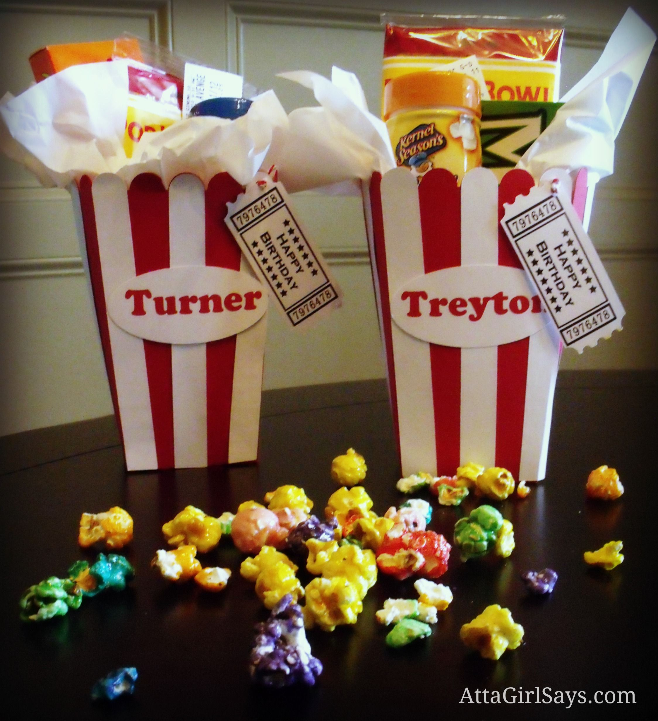 Popcorn Bucket Birthday Gift From Atta Girl Says. Includes