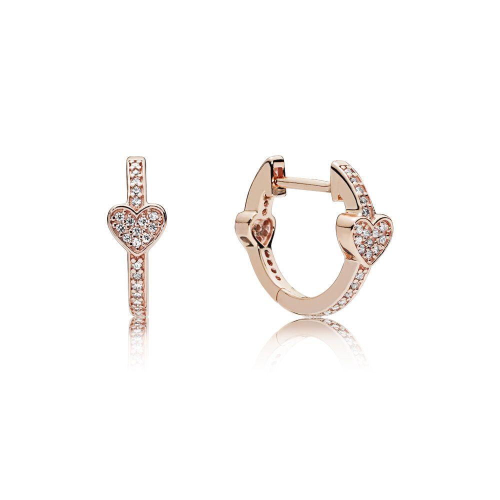 Alluring Hearts Hoop Earrings, PANDORA Rose™ & Clear CZ | Pandora earrings, Pandora jewelry ...