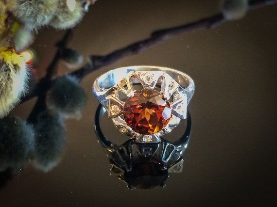 Champagne Topaz Ring Imperial Topaz Ring Silver by Trencheff