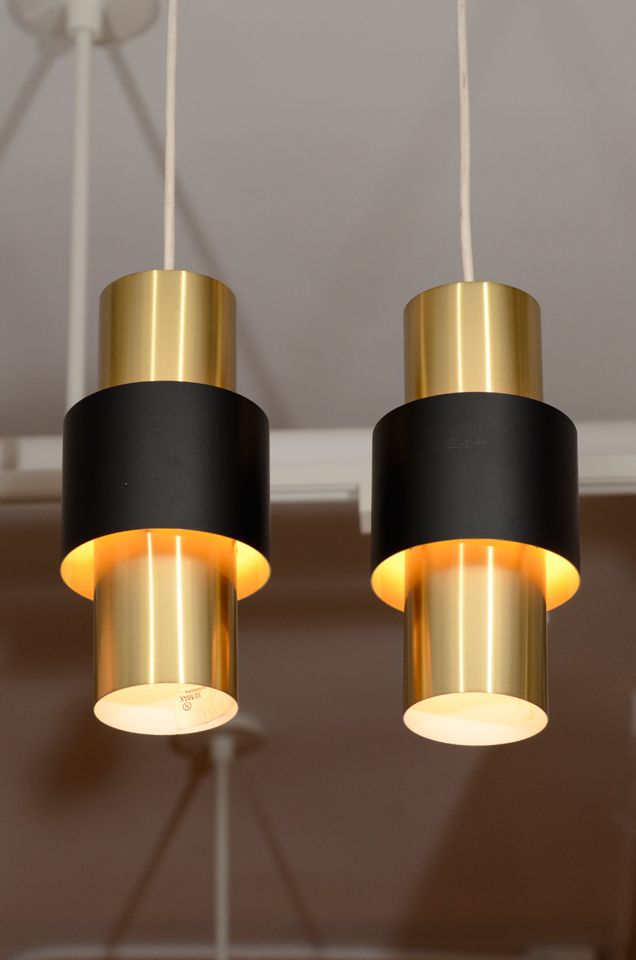 Pair of danish modern cylindrical brass pendant lamps for Danish modern light fixtures