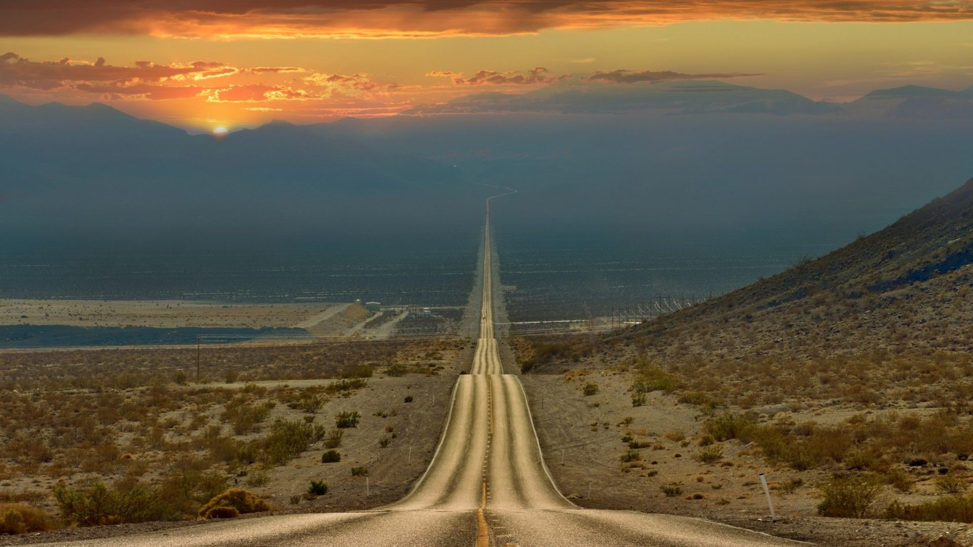 Death Valley Road Sunset Wallpaper