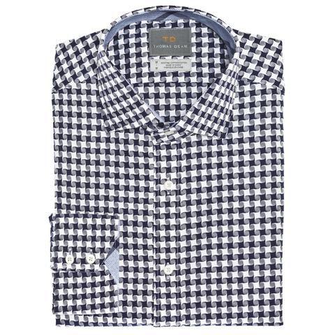 Big & Tall Navy Abstract Button Down Sport Shirt - Thomas Dean & Co