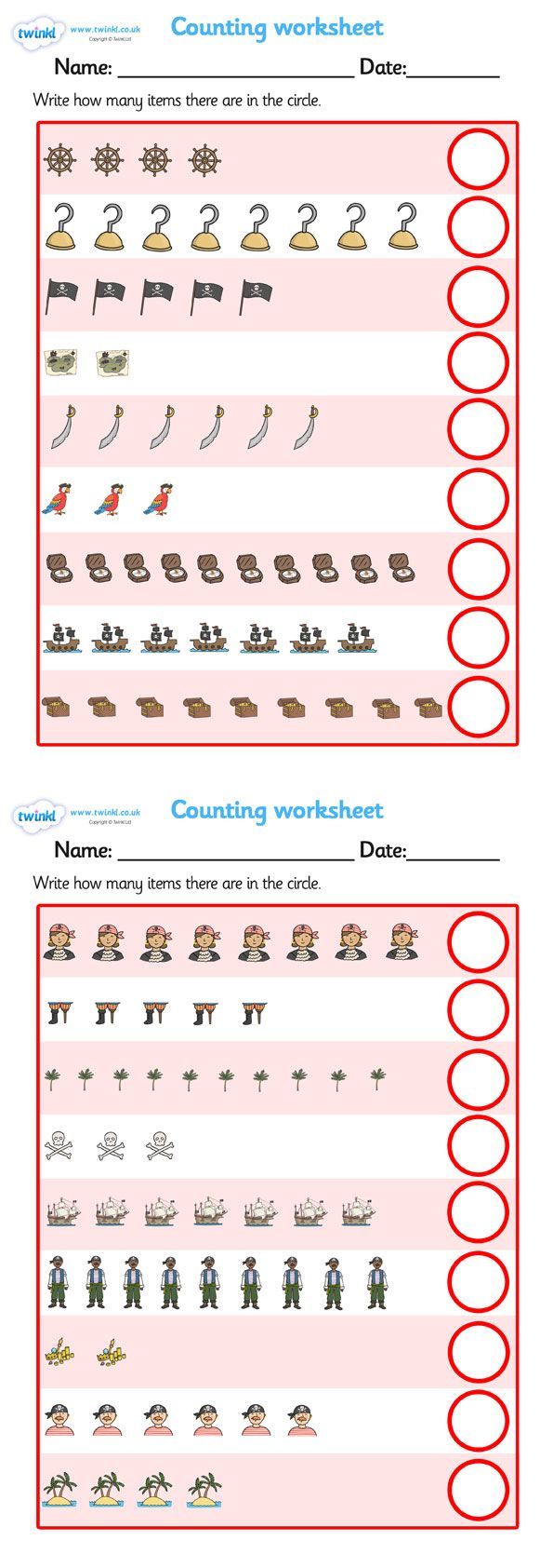 Twinkl Resources My counting worksheet Pirates Thousands – Foundation Maths Worksheets