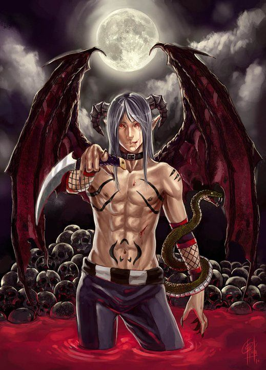 anime demon boy young muscle shirtless demon boy in a