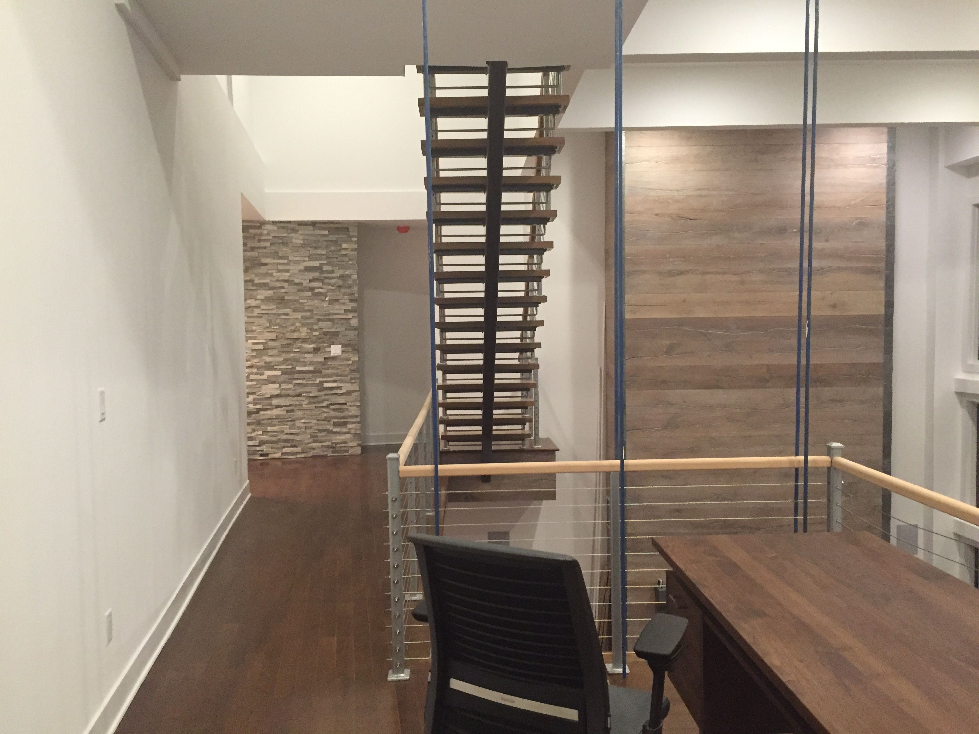 Best Residential Monostringer Floating Stair With Cable Railing 400 x 300