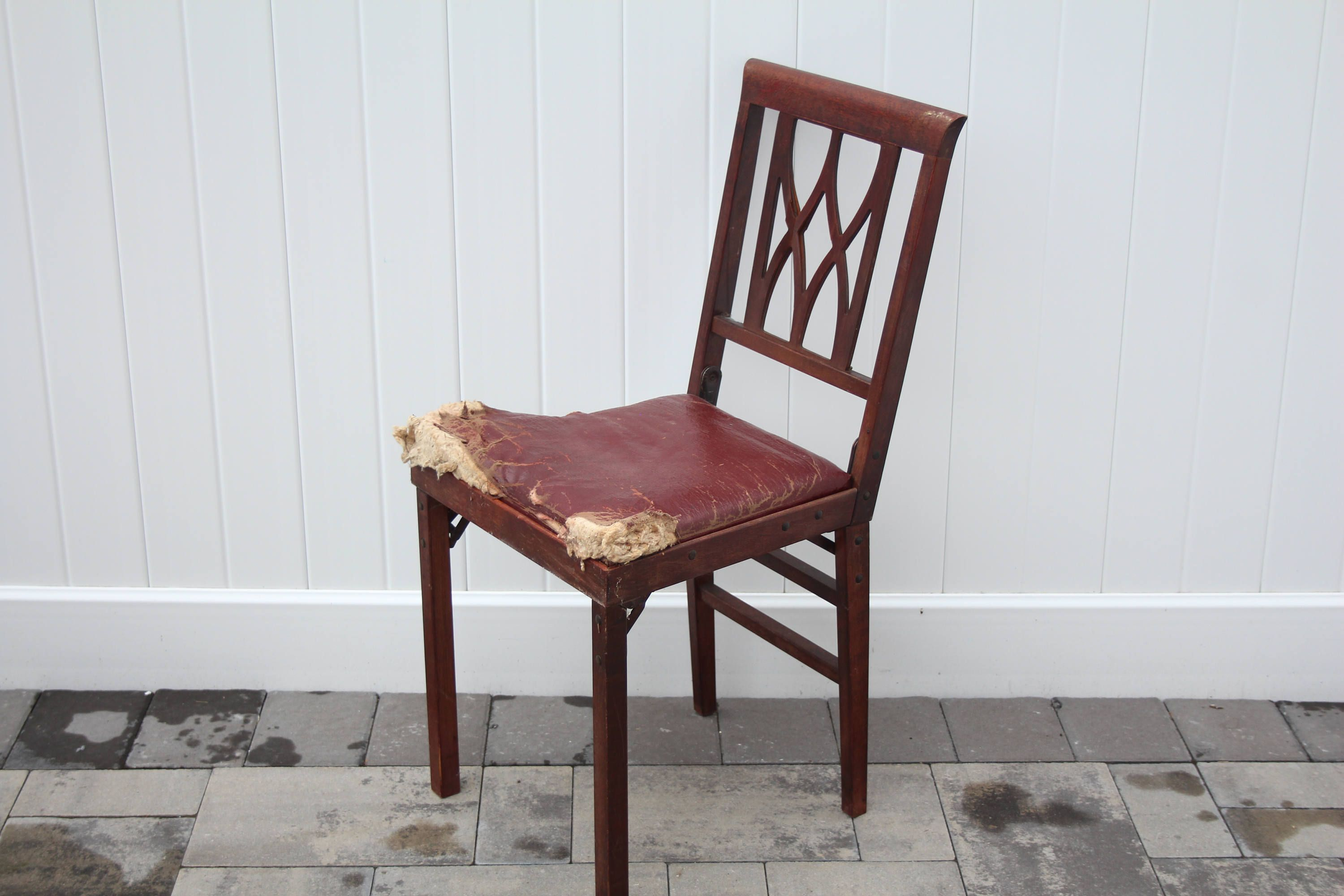 Vintage thonet style cafe chairs with stenciled seats - Vintage Leg O Matic Chair Burgundy Vinyl Seat Cushion Wood Frame Compact Folding Chair