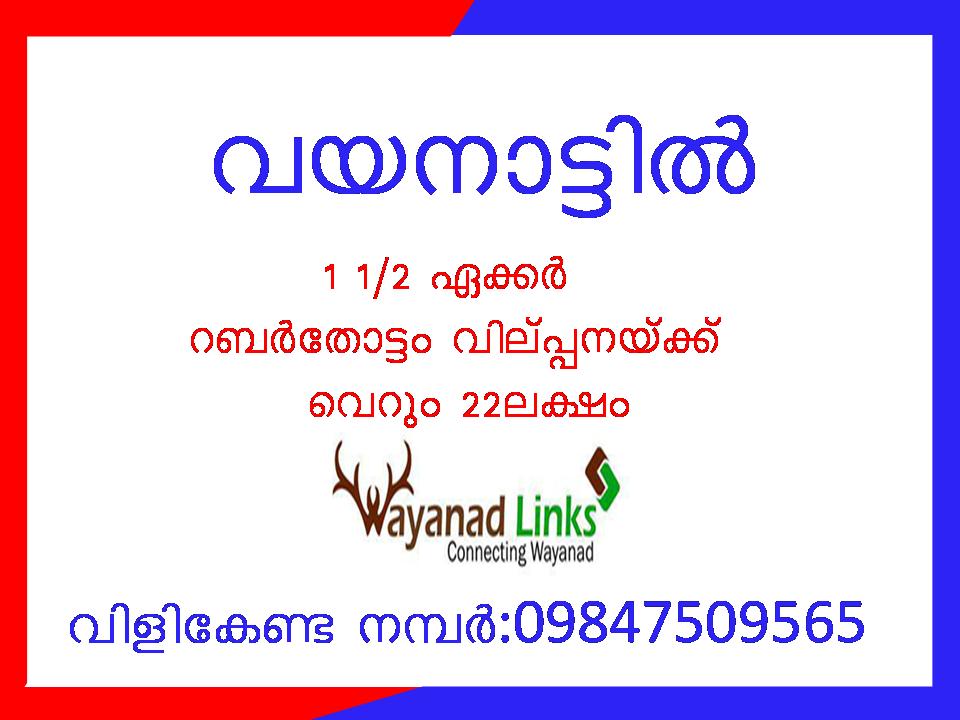 1 acre 50 cent rubber plantation for sale at wayanad