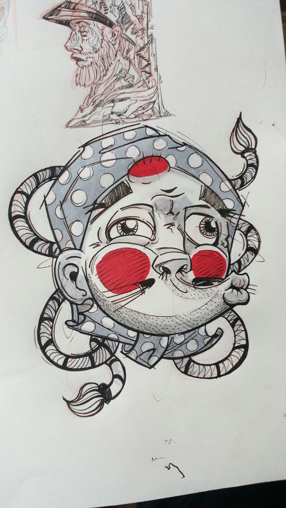 Another amazing sketch of hyottoko mask i cant get enough