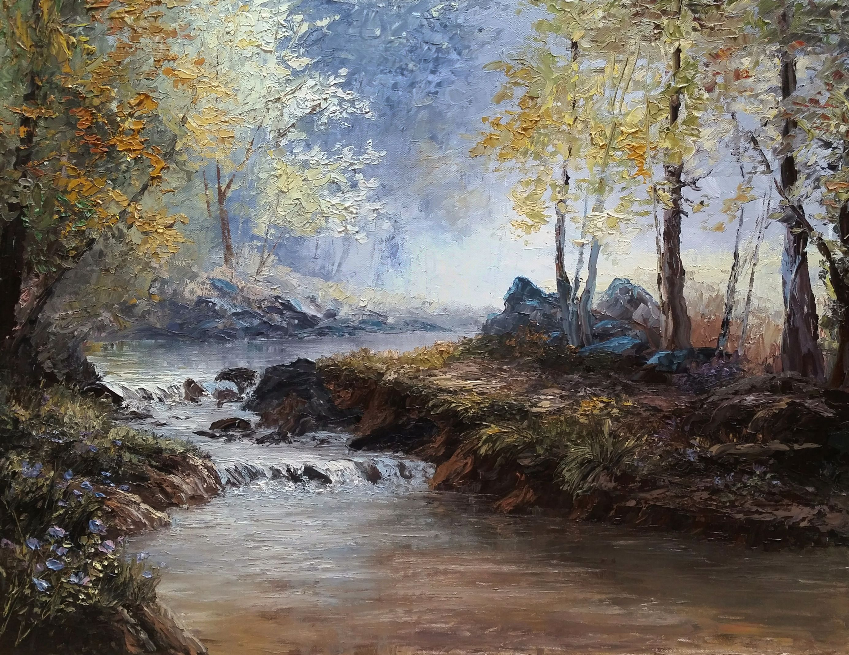 Palette Knife Forest Landscape Oil Painting By Kevin Hill Watch Short Oil Painting Lessons On Oil Painting Landscape Landscape Paintings Kevin Hill Paintings