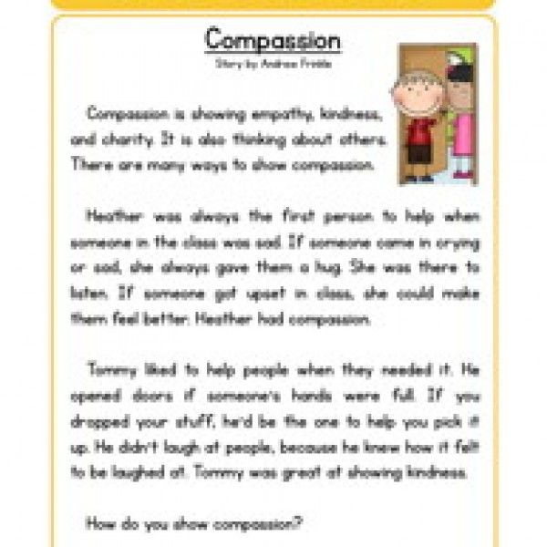 Compassion Character Reading Comprehension Worksheet – Character Education Worksheets