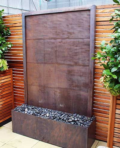 Copper wall art. Stylish water wall for the garden | Outdoor ...