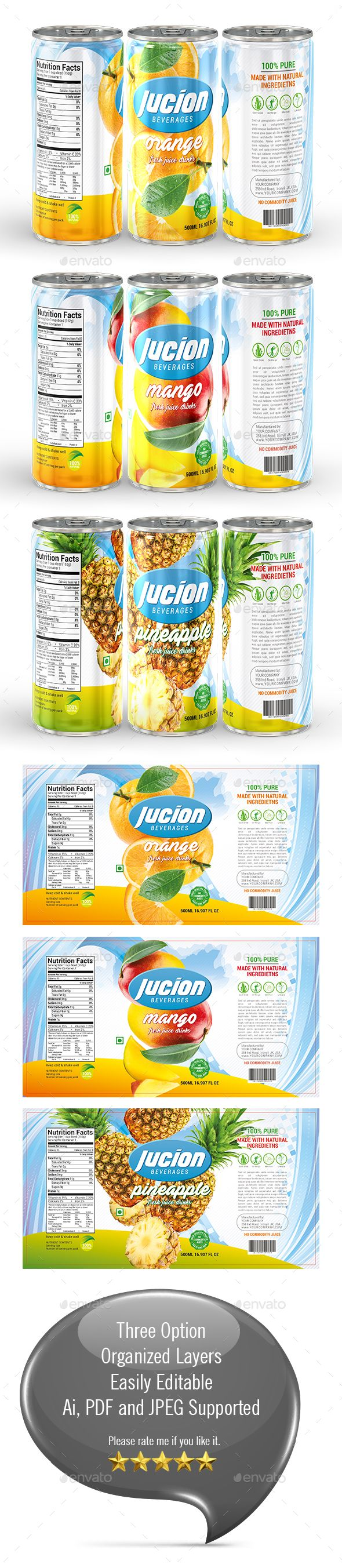 Juice Label Template Label Templates Juice Packaging Packaging Template