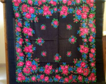 Russian black floral shawl with holes soviet wool by RussianScarf