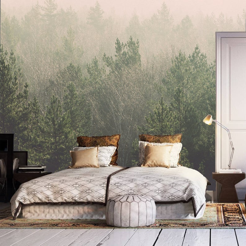 Forest wall mural self adhesive wallpaper, foggy misty