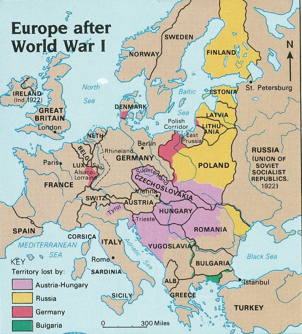 The Great War Europe After World War I The Division Of Land - Europe map after world war1
