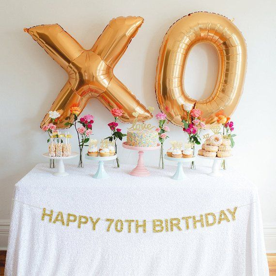 Happy th birthday banner glitter party milestone decor also best ideas images on pinterest in rh