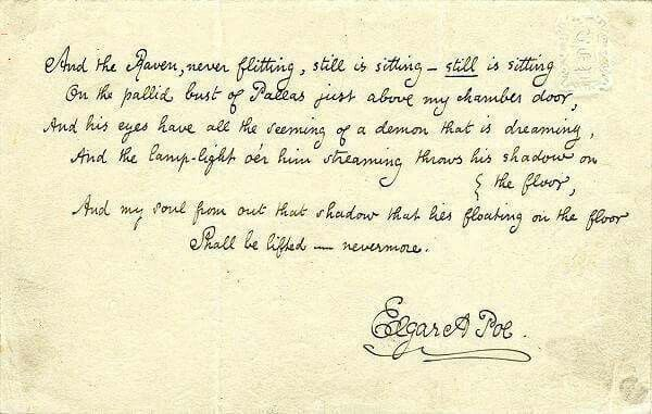 nevermore edgar allan poe s handwriting of the raven the world  the raven edgar allan poe essay edgar allan poe the raven