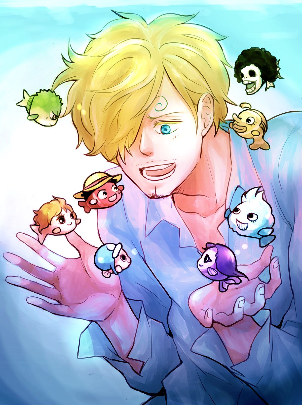 Sanji and straw hats pirate crew Monkey D. Luffy, Tony Tony Chopper, Roronoa Zoro, Brook, Usopp, Nami, Franky, Nico Robin One piece