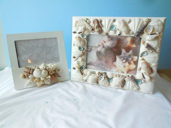 SeaShell Picture Frame-Beach Frame-Shell Photo Frame-White Shell ...