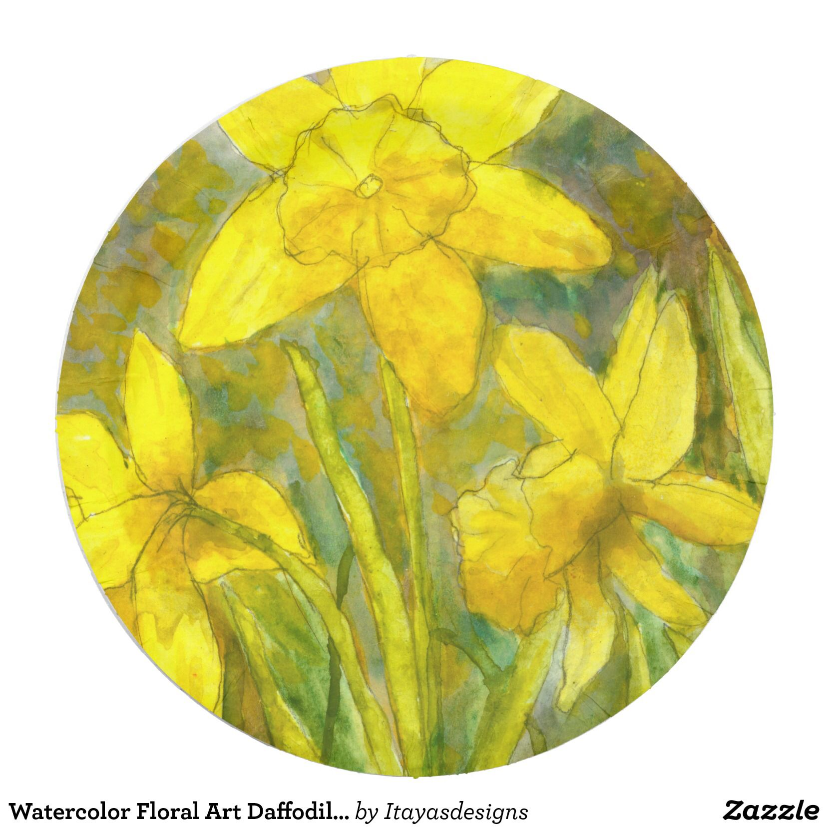 Watercolor Floral Art Daffodils Yellow Wildflowers. SOLD!!