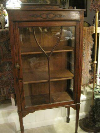 Old Antique Victorian China Cabinet | ... English Oak Petite Curio ...