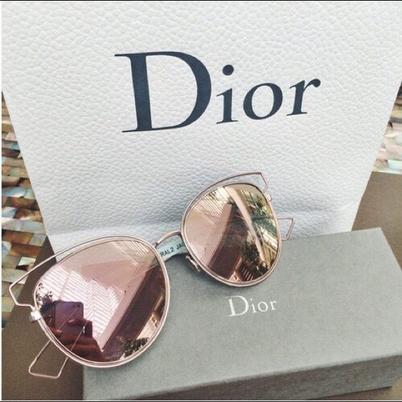 0000c4590a5d ROSE GOLD MIRROR WIRE SUNGLASSES Beautiful mirror wire sunglasses! Brand  new! Frame is cateye shape Wired frame! Trendy for summer  16 Limited  supply! no ...