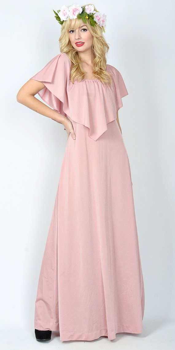 Vintage 70s Dusty Rose Maxi Dress Goddess Boho Ruffle Cape Slv ...