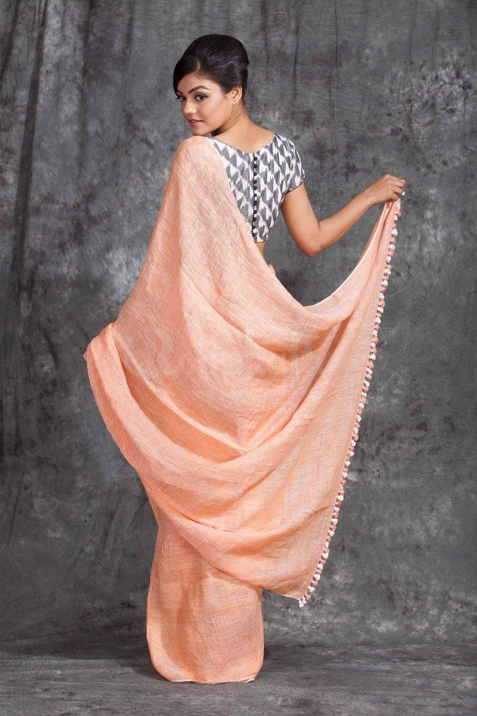 bbd644feacf7e Peach Organic Linen Saree With Pompom - Roopkatha - A Story of Art ...