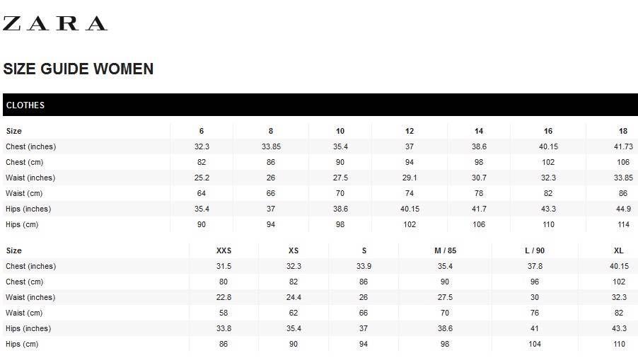 Zara Size Chart Dress Size Chart Women Size Chart Jeans Size Chart