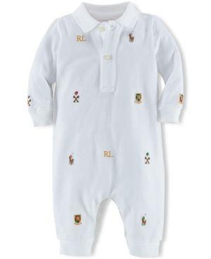 Ralph Lauren Baby Boys' Schiffli Polo Coverall  - White 12 months