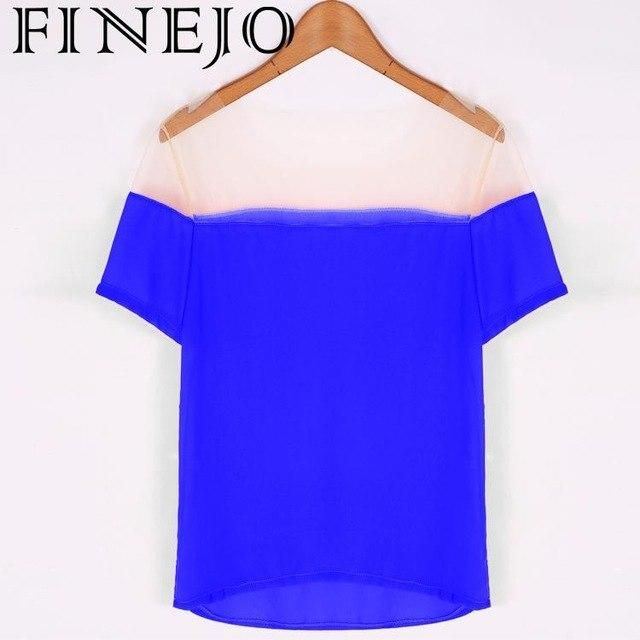 Chiffon Short Women Sleeve Casual Patchwork Stylish Lady T-Shirt Loose Tops Blue S #chiffonshorts