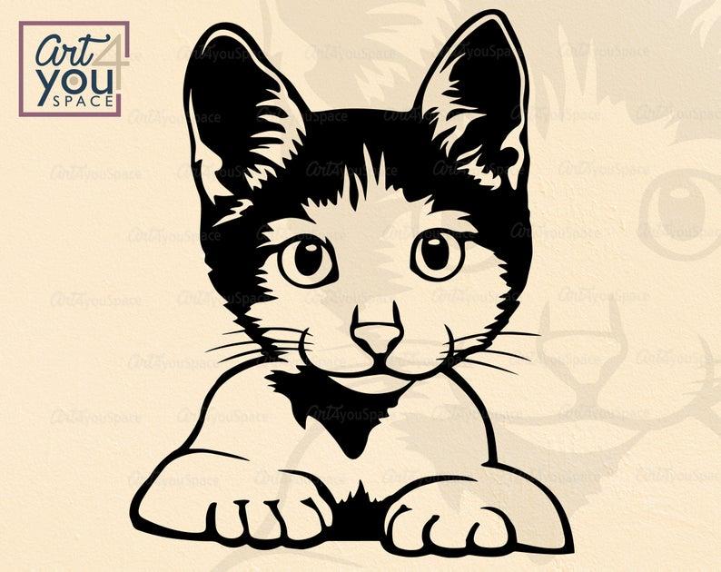 Cute Cat SVG clipart cricut funny face peek a boo head | Etsy