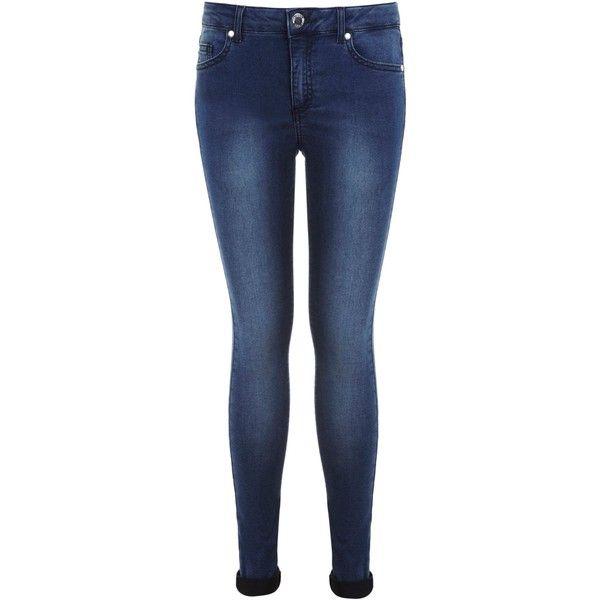 Miss Selfridge Reg Dark Blue Ultra Soft Jean ($56) ❤ liked on Polyvore featuring jeans, pants, denim, women, dark blue jeans, mid-rise jeans, blue jeans, blue skinny jeans and mid rise skinny jeans