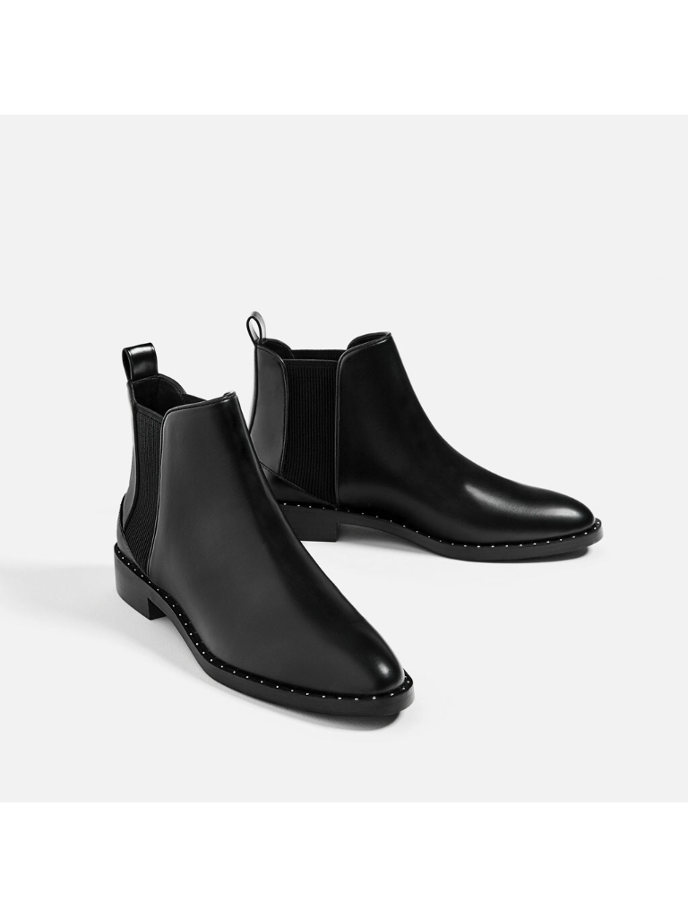85804590b9636 Zara Studded Flat Ankle Boots | Winter | Shoes heels boots, Sneaker ...