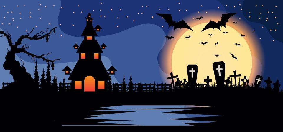 Fundo De Noite De Halloween Com Casa Assombrada No Lago Com Fundo Azul Evil Background Halloween Night Blue Backgrounds