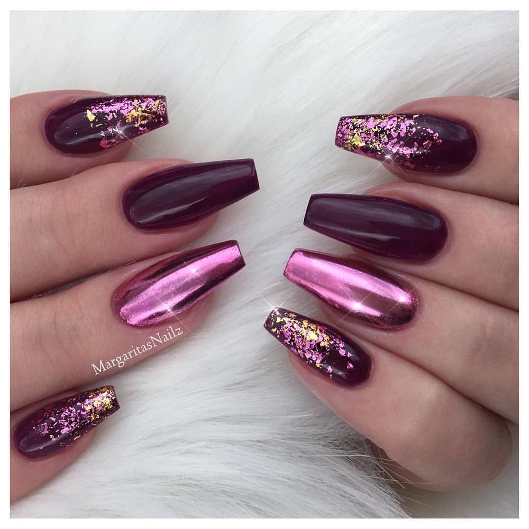 Pink Chrome maroon coffin Glitter Ombré design - Margarita ...