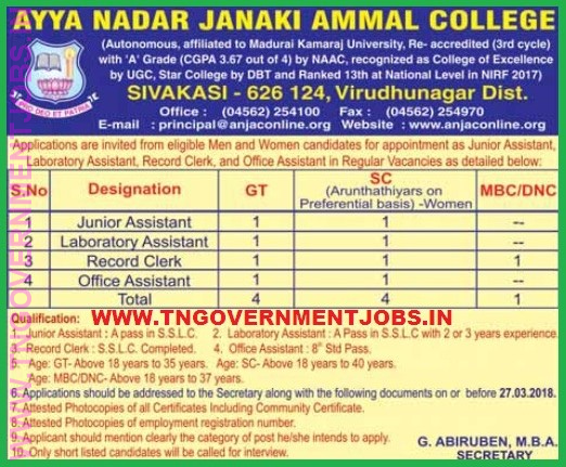 Ayya Nadar Janaki Ammal College Anjac Non Teaching Post
