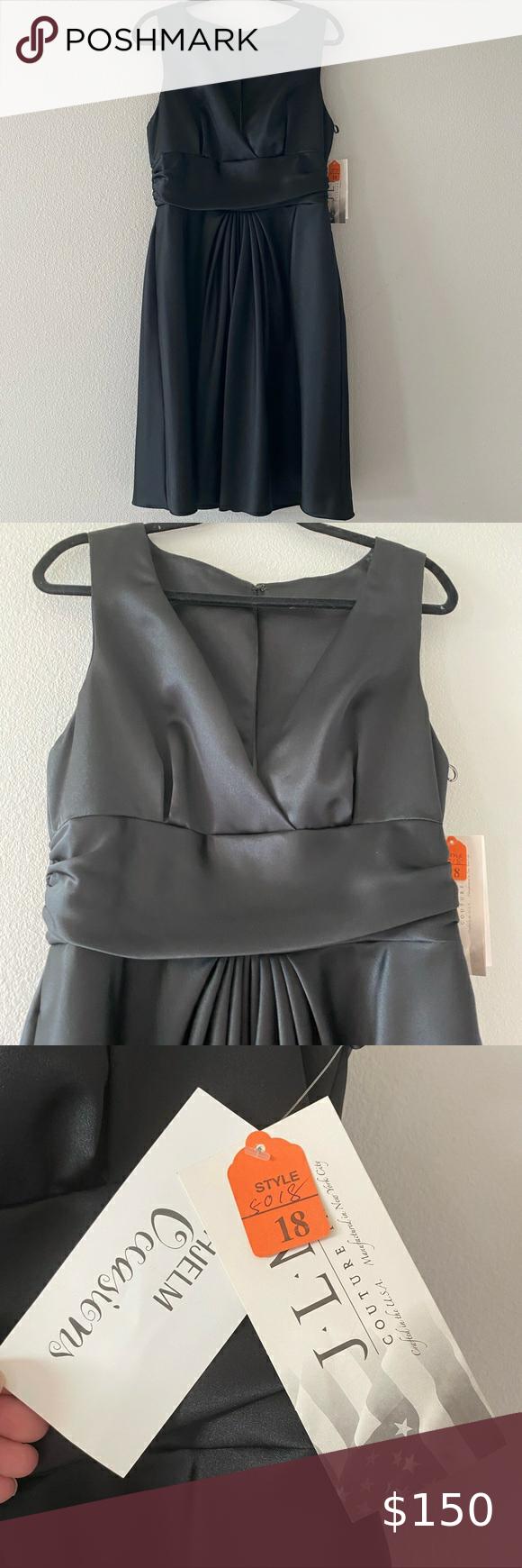 Nwt Jim Hjelm Occasions Satin Black Dress In 2021 Black Satin Dress Maxi Knit Dress Casual Day Dresses [ 1740 x 580 Pixel ]