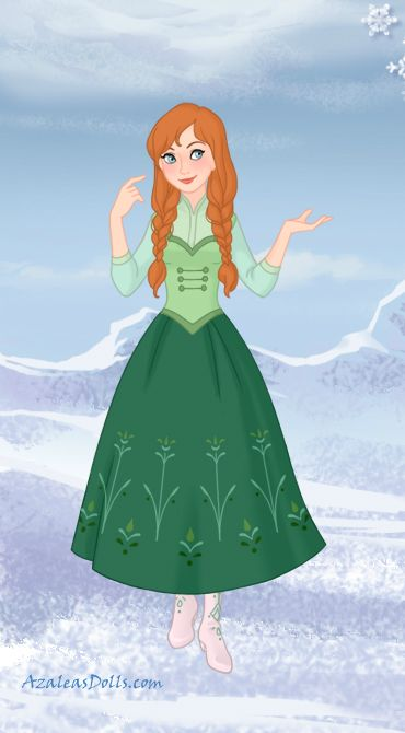 Anna's final outfit in the movie Frozen, made using Snow Queen game by Azalea's Dolls