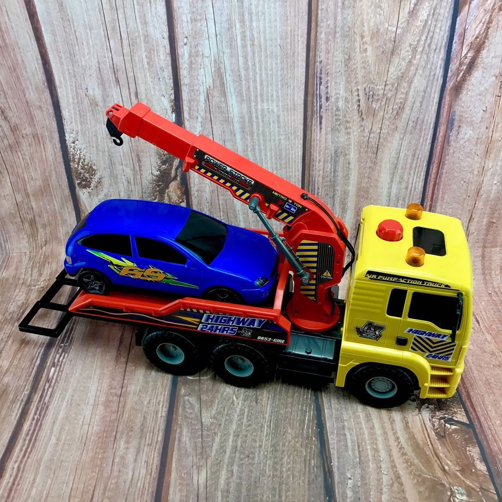 kids tow Truck With Spec Lift Pump Action Crane And Blue