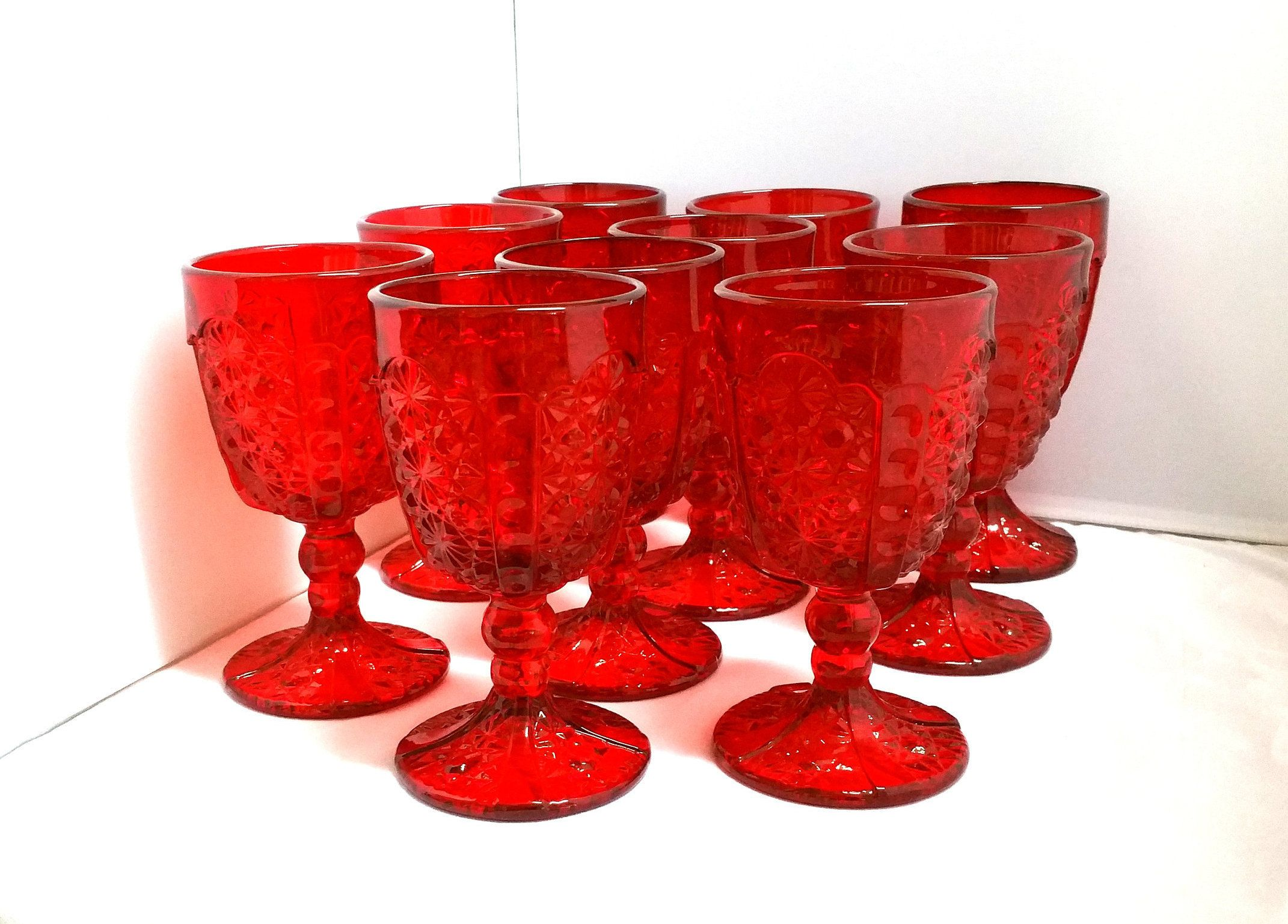 10 Ruby Red L G Wright Goblet Glasses Etsy In 2020 Ruby Red Red Glass Goblet