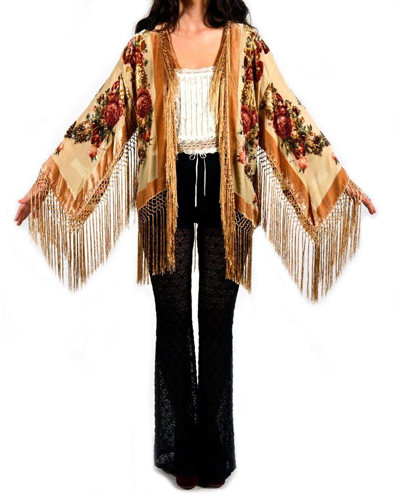 Champagne Floral Velvet Burnout Gypsy Fringe Beaded Kimono Jacket    $198    love the kimono, not the price.